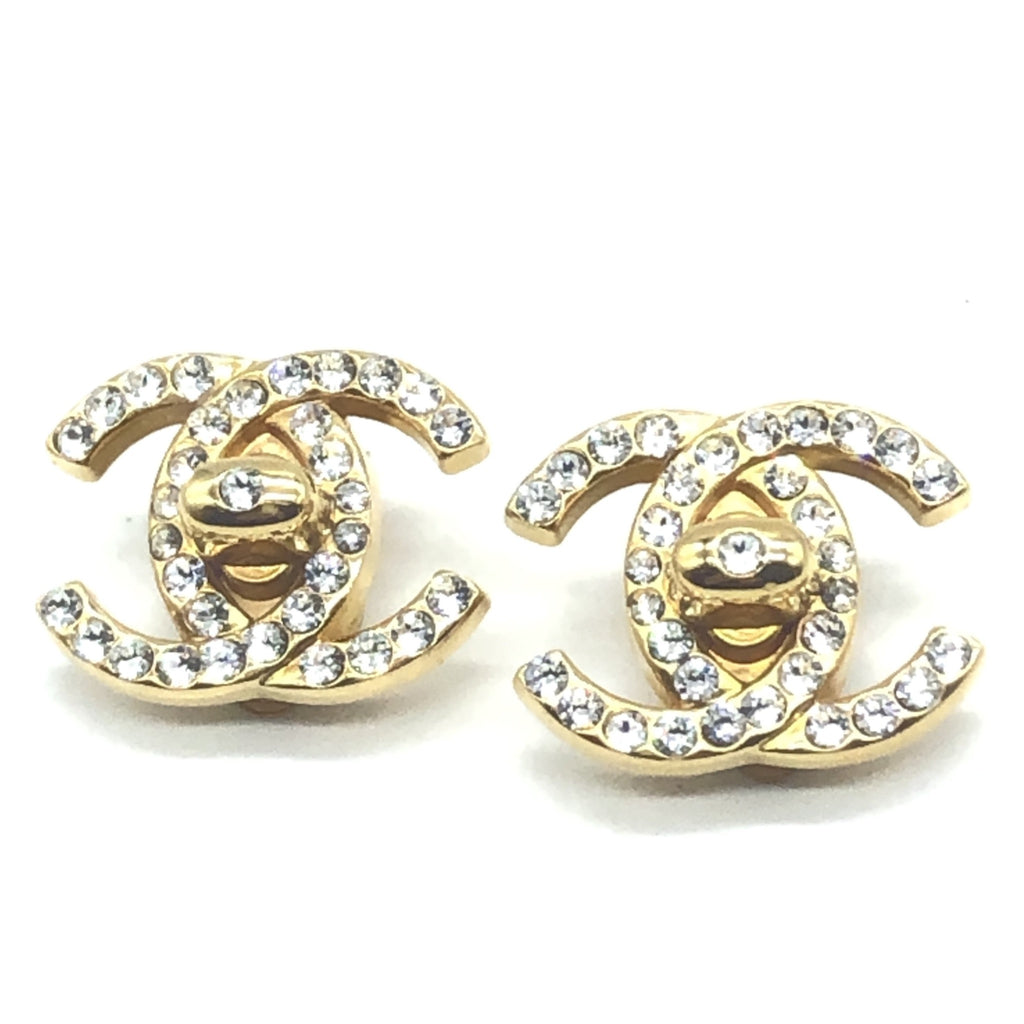 vintage chanel turnlock earrings with rhinestones