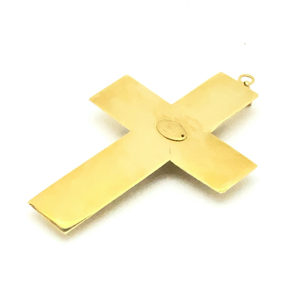 Vintage Christian Lacroix Gold Cross Pendant with Crystals