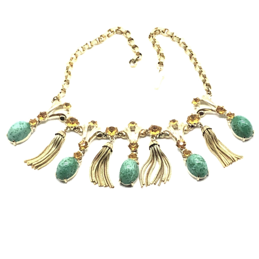 Schiaparelli Bib Necklace with Domed Cabochons and Tassels