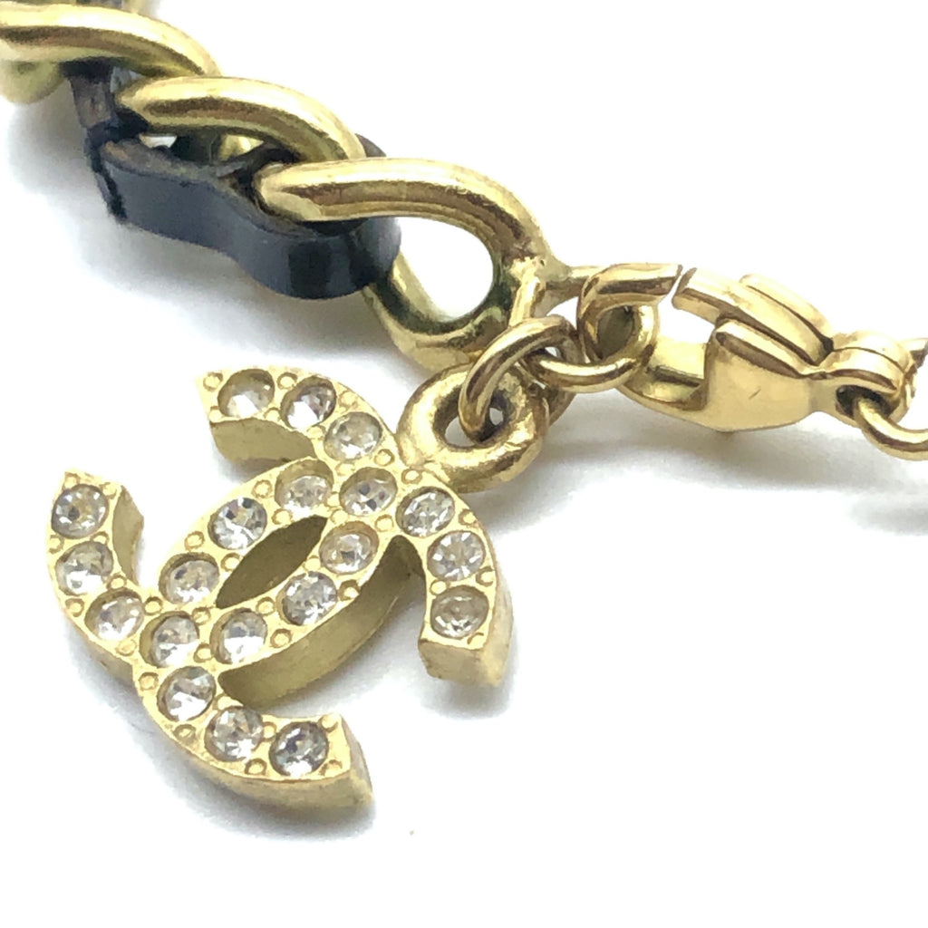 Vintage Chanel Leather and Chain Anklet with Rhinestone CC Charm