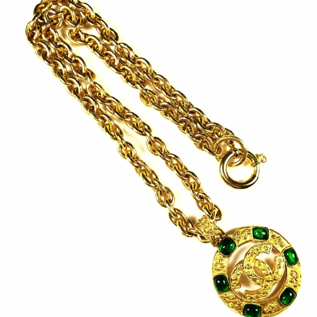 Chanel Necklace with CC Cutout Pendant with Green Gripoix