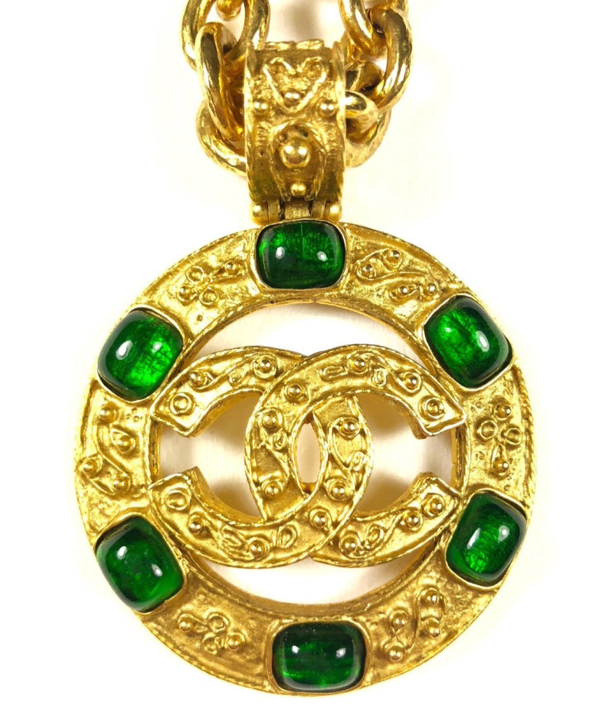 chanel CC cutout necklace with green stones