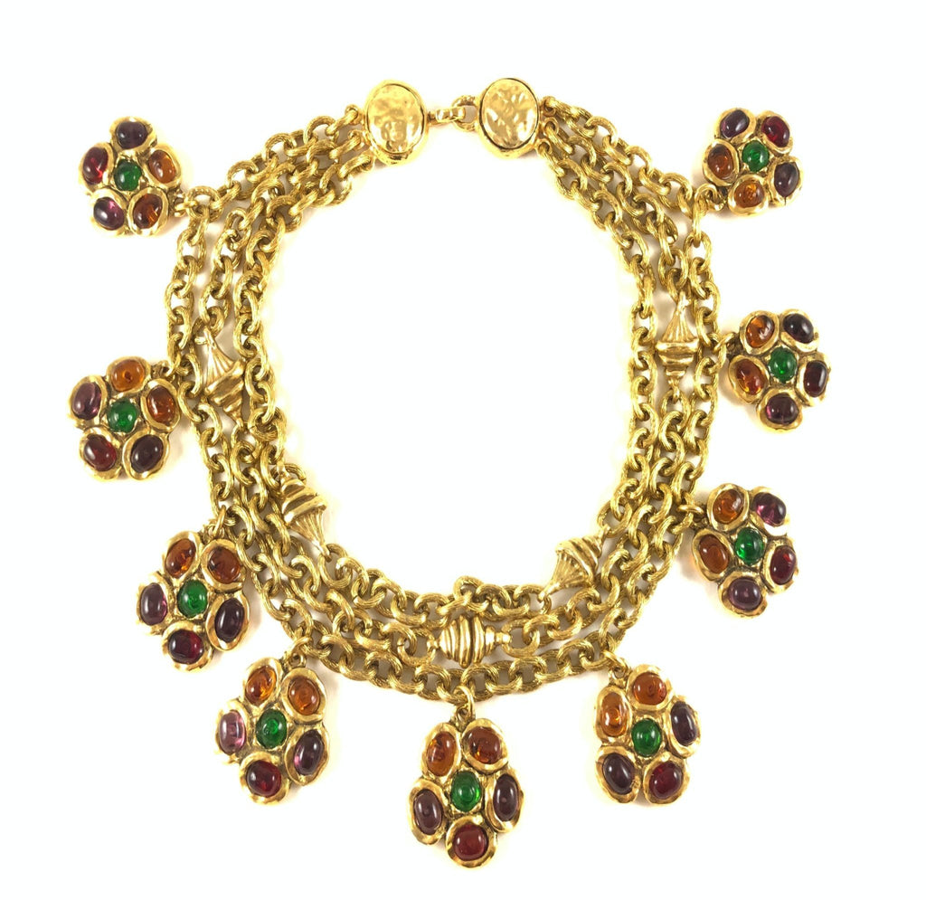 vintage chanel 1984 necklace with gripoix flowers