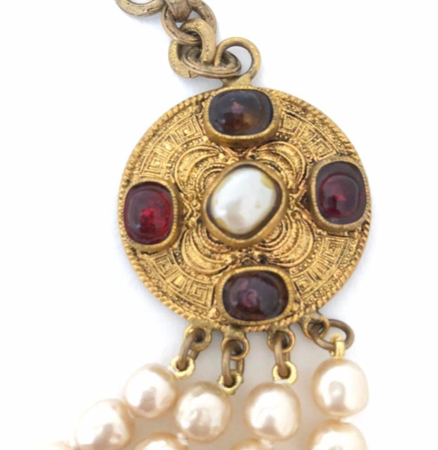 Vintage Chanel 1984 Necklace with Pearls and Gripoix medallions