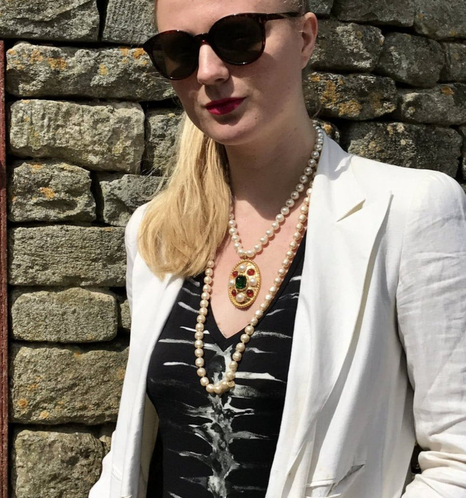 Vintage Chanel Pearl Necklace with Oval Gripoix Pendant