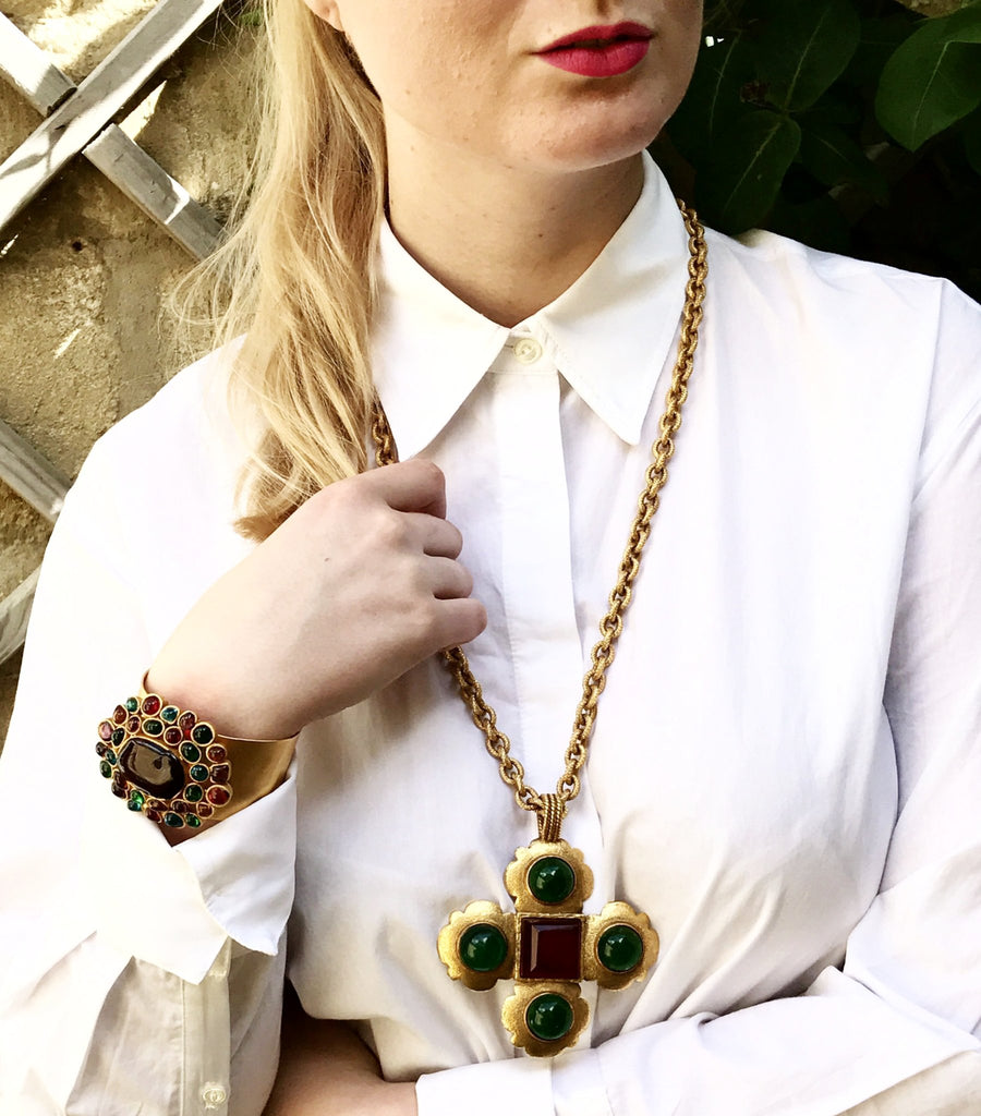 Vintage Chanel Necklace with Scalloped Cross Pendant