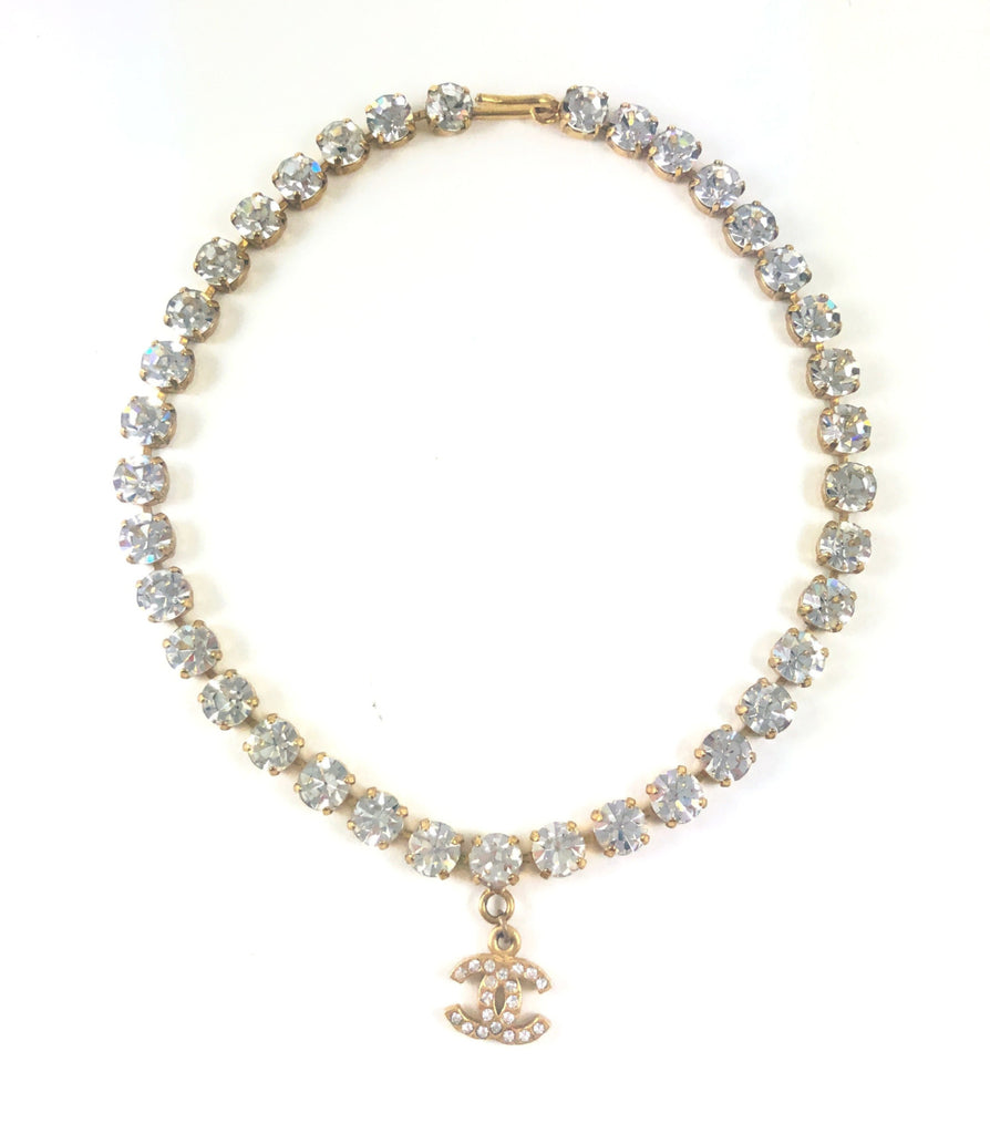 Chanel Crystal Choker Necklace with CC Charm