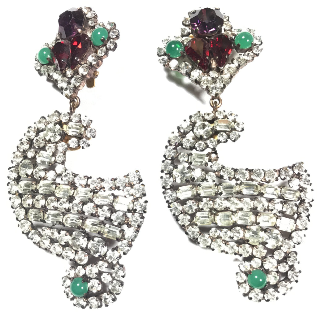 Yves Saint Laurent YSL large vintage rhinestone earrings