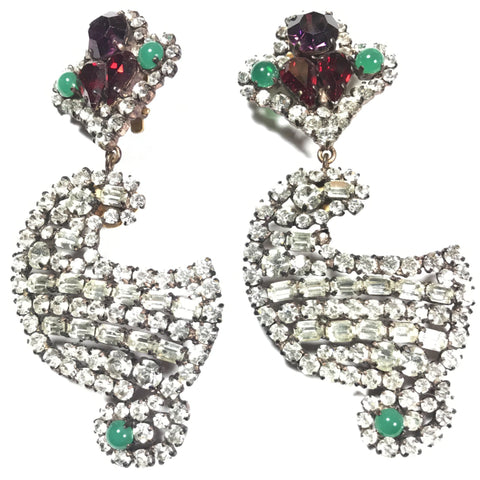 Yves Saint Laurent large vintage rhinestone earrings