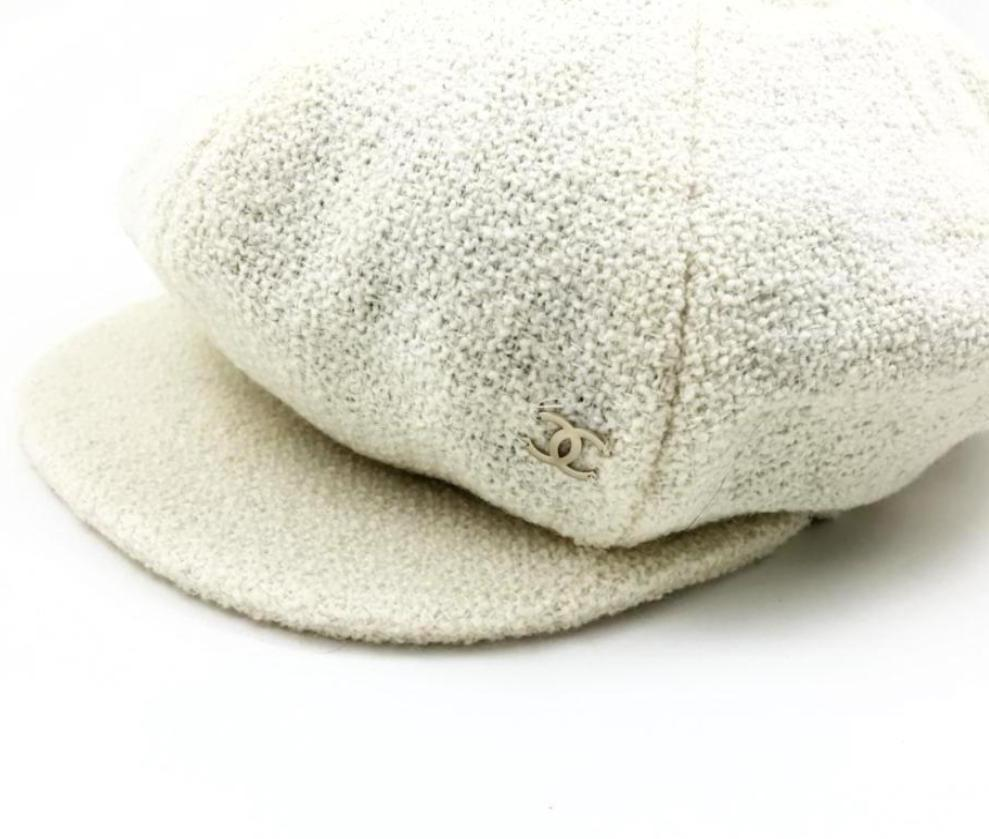 chanel baker boy hat in cream wool
