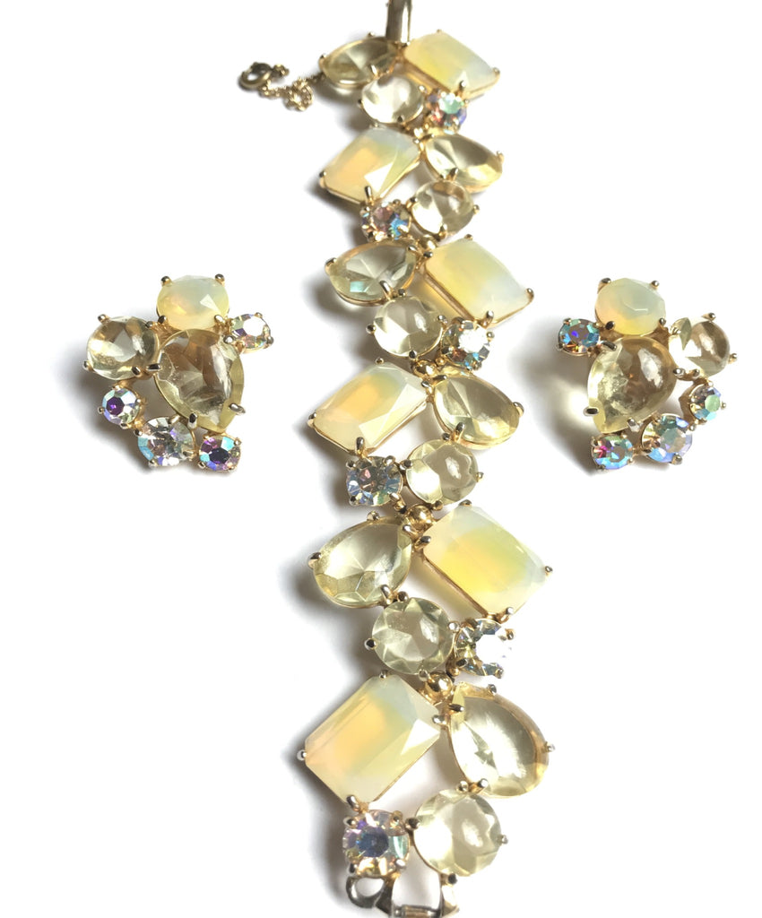 schiaparelli crystal bracelet and earring set