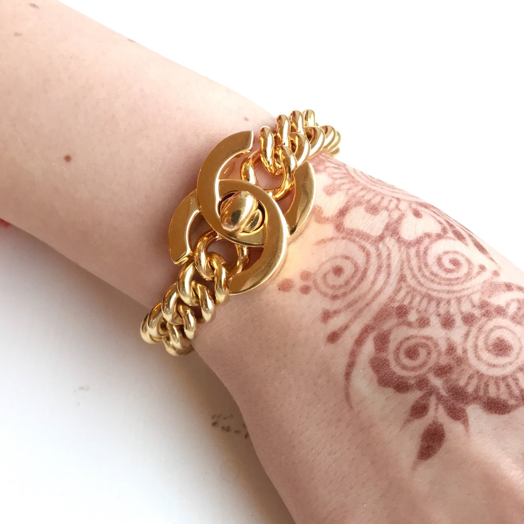 Vintage Chanel Gold Turnlock Bracelet