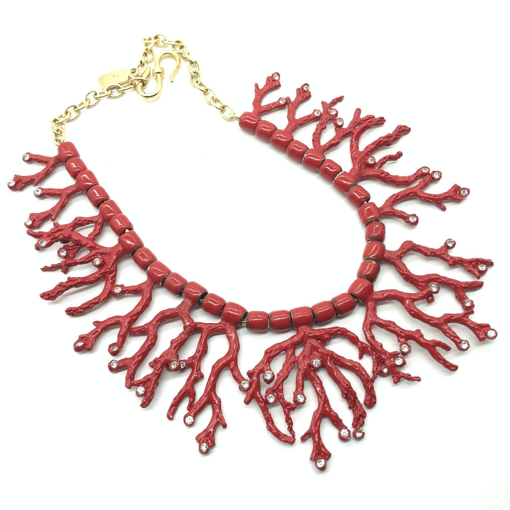 vintage ysl coral and rhinestone necklace