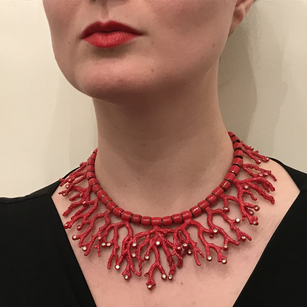 vintage ysl yves saint laurent coral rhinestone necklace