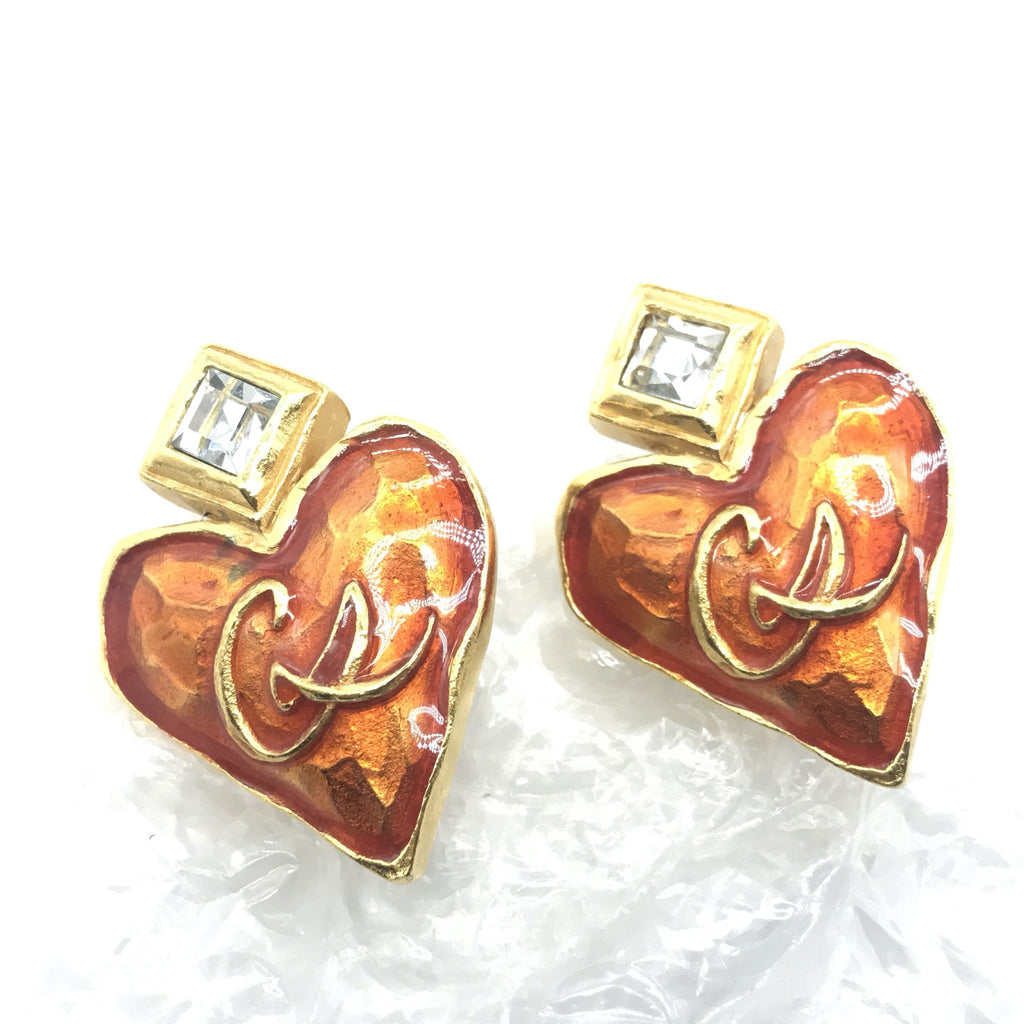 Christian Lacroix enamel heart earrings