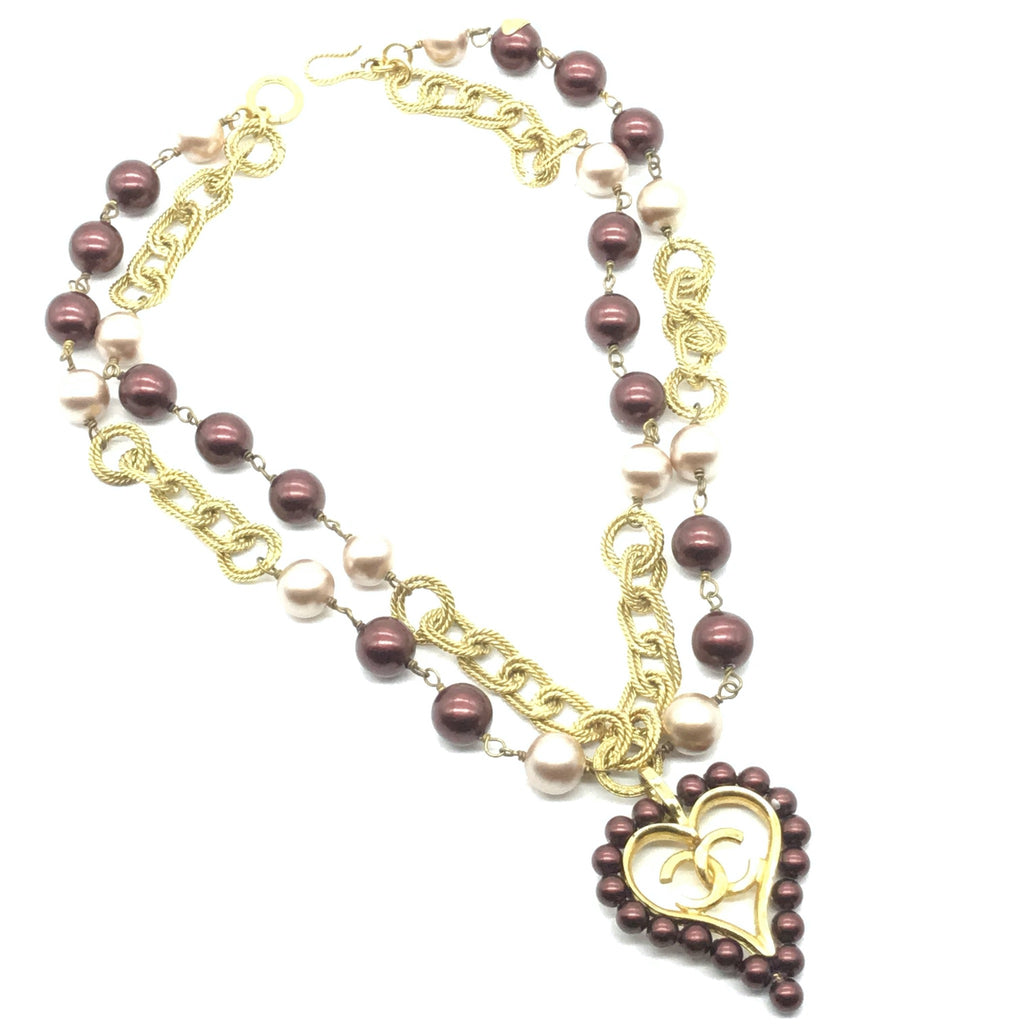 vintage chanel pearl heart necklace