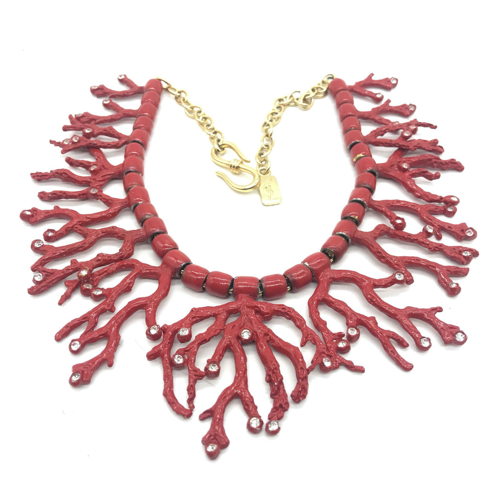 vintage YSL Coral bib necklace
