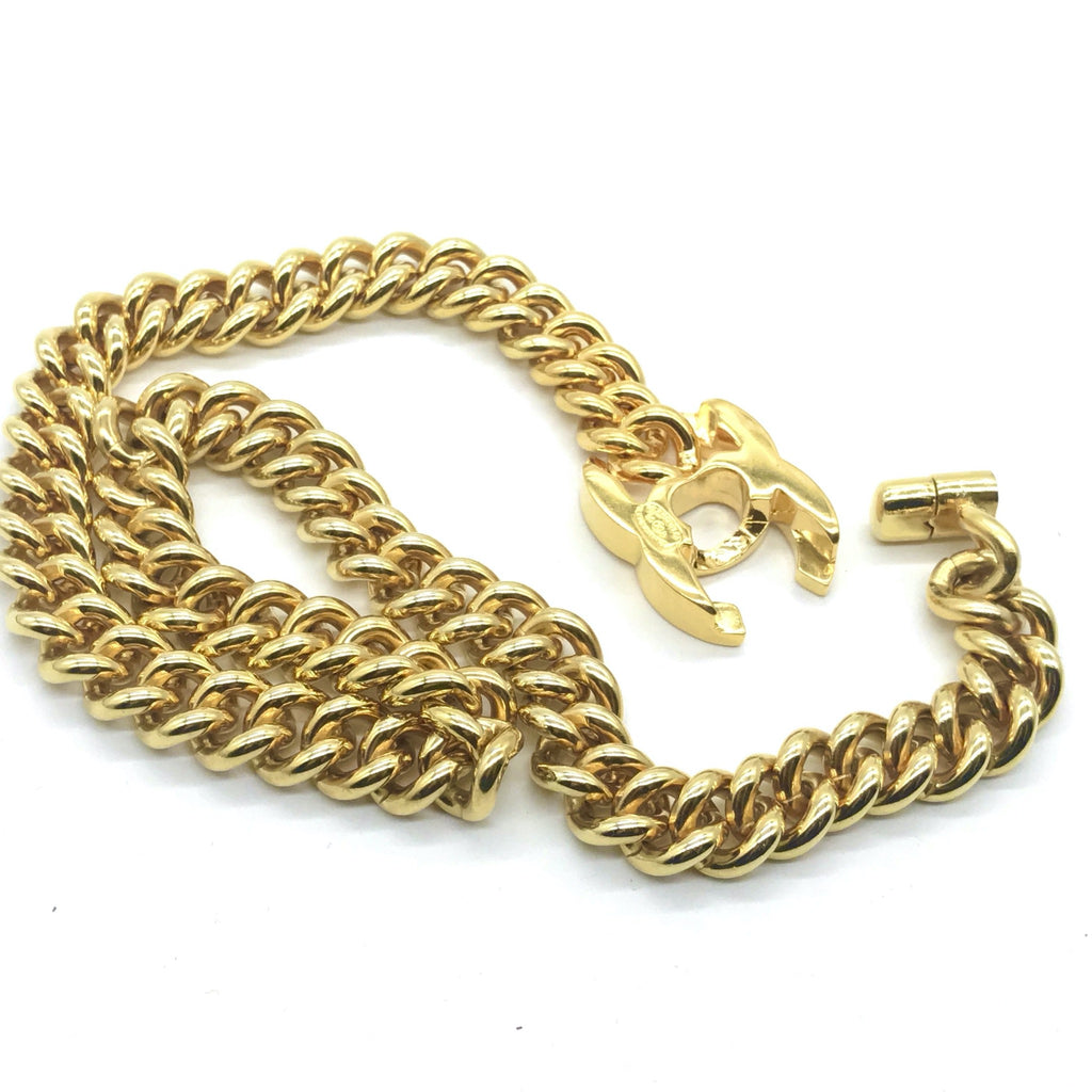 Vintage Chanel Goldtone Turnlock Necklace