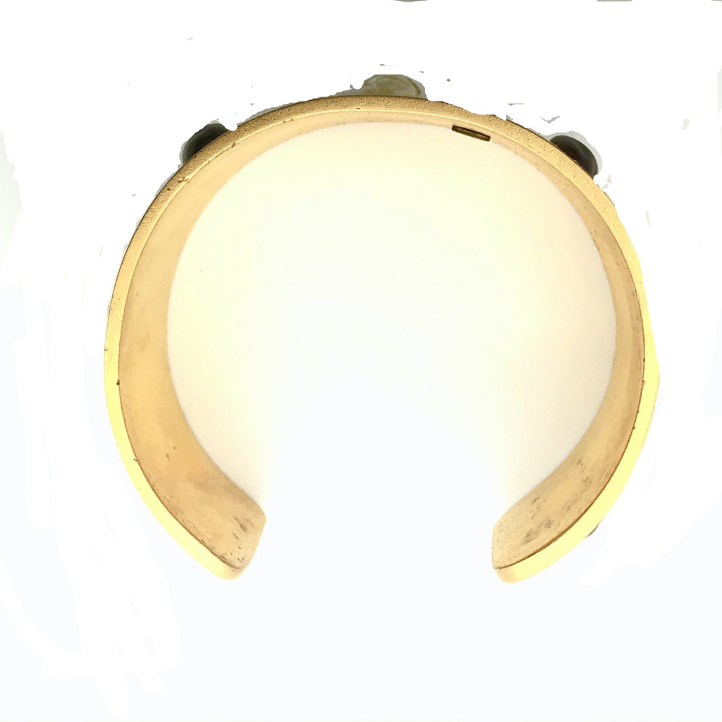 Chanel Brushed Gold Cuff with Cabochons