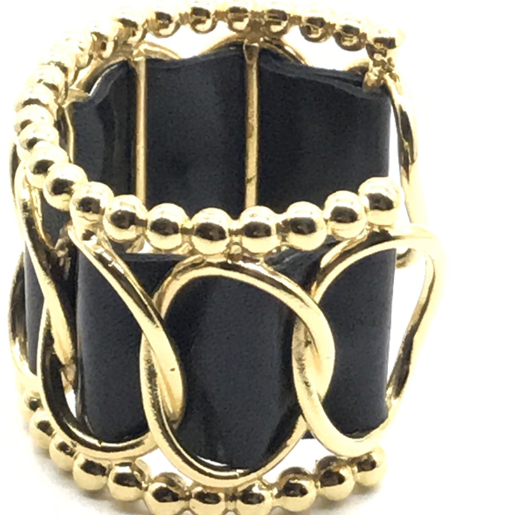 Vintage Chanel Leather Cuff with Beading