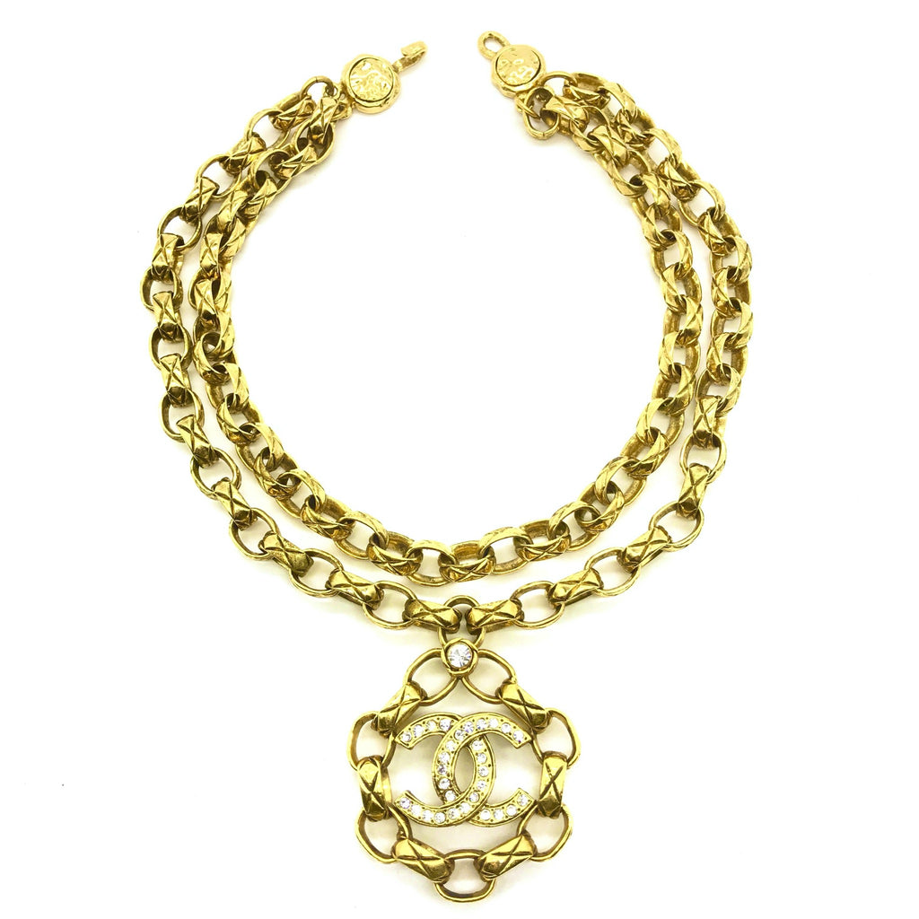 vintage chanel double chain necklace with rhinestone pendant