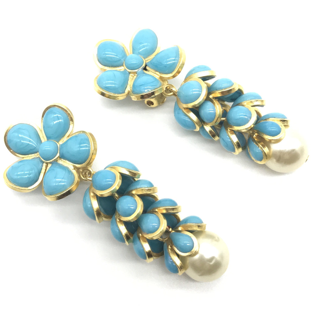 vintage chanel long flower head earrings