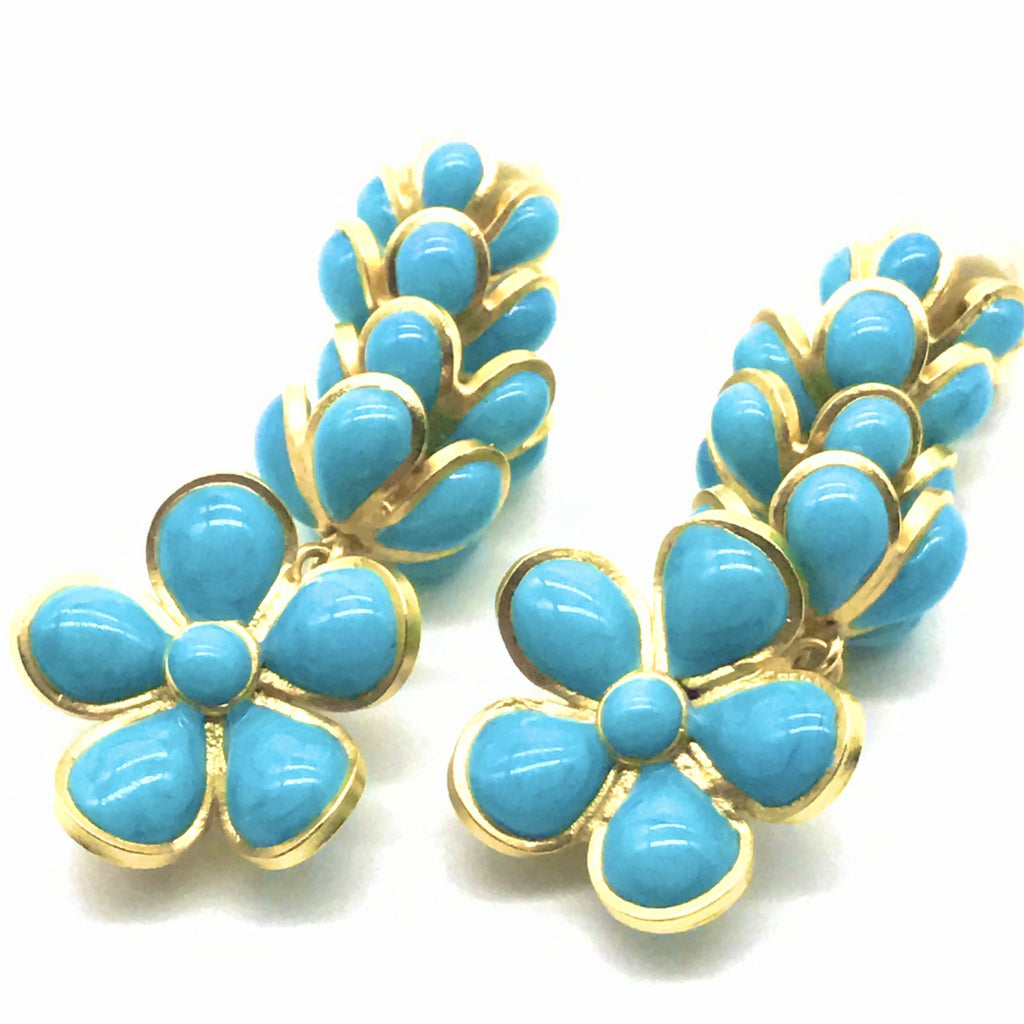 Vintage Chanel Long Turquoise flower Earrings