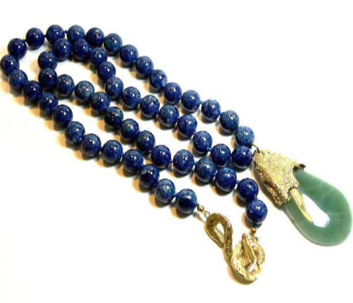 Vintage YSL blue bead necklace with green stone pendant