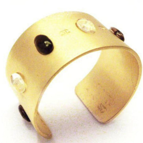 chanel cuff in brushed gold with cabochons