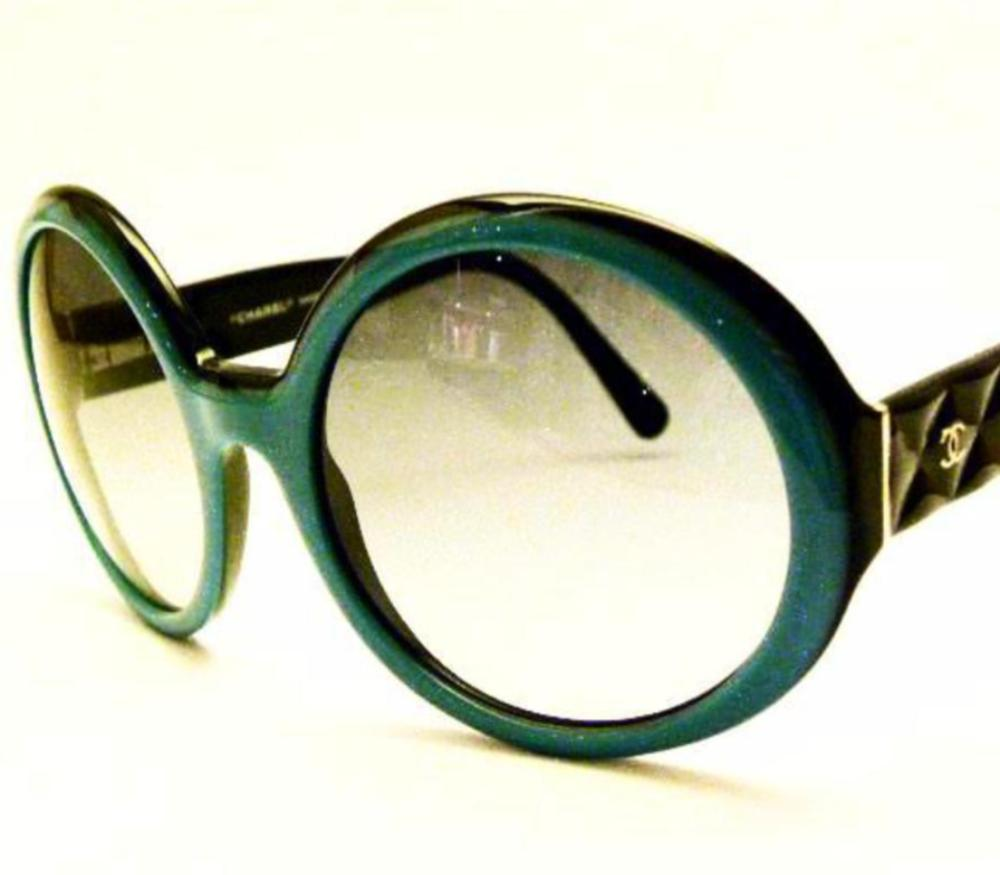 vintage chanel sunglasses in black and turquoise
