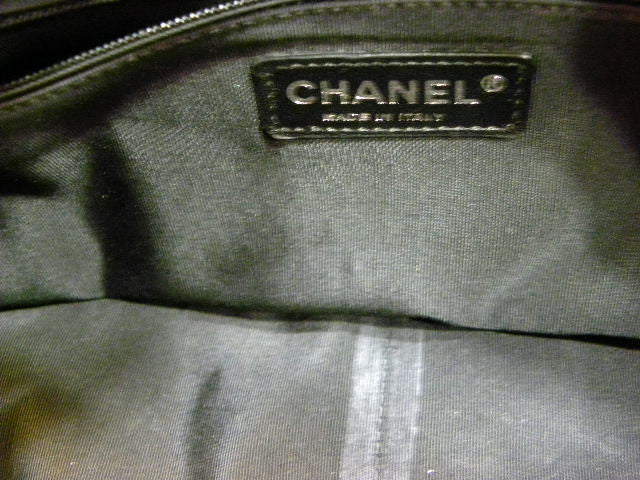 chanel handbag in black and white - interior