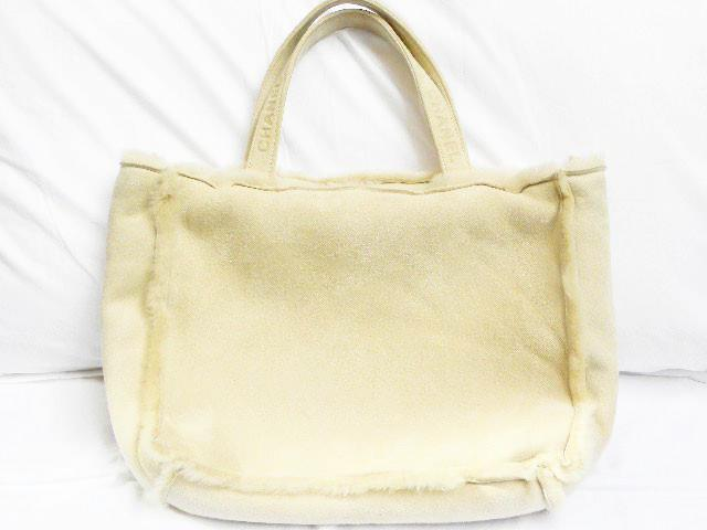 chanel tote in beige sheepskin