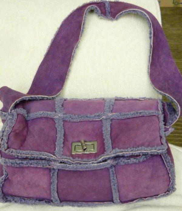 chanel handbag in violet sheepskin front