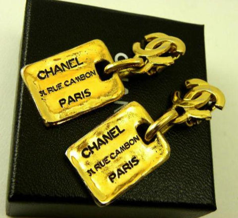vintage chanel dog tag earrings