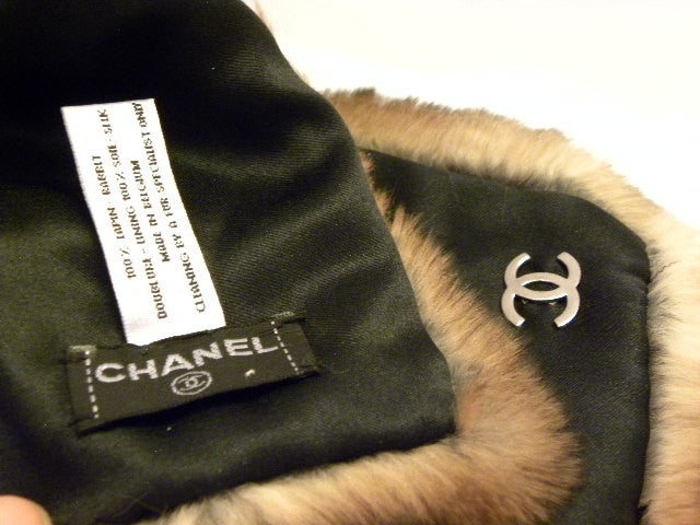 chanel fur scarf label