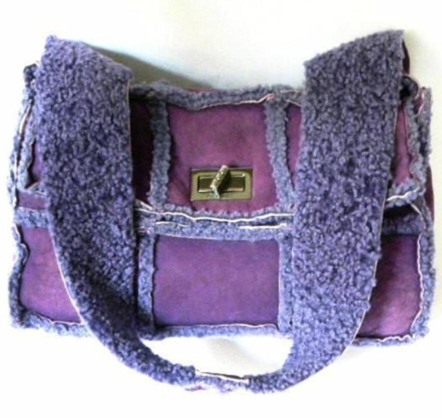 chanel handbag in violet sheerling