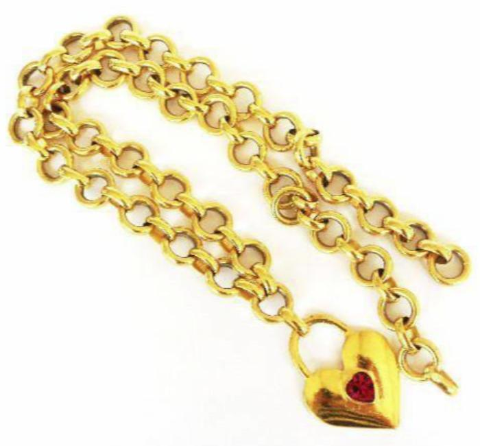 chanel necklace with red padlock heart pendant