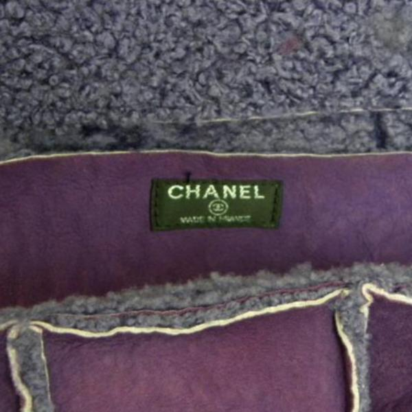 chanel handbag in violet sheepskin label