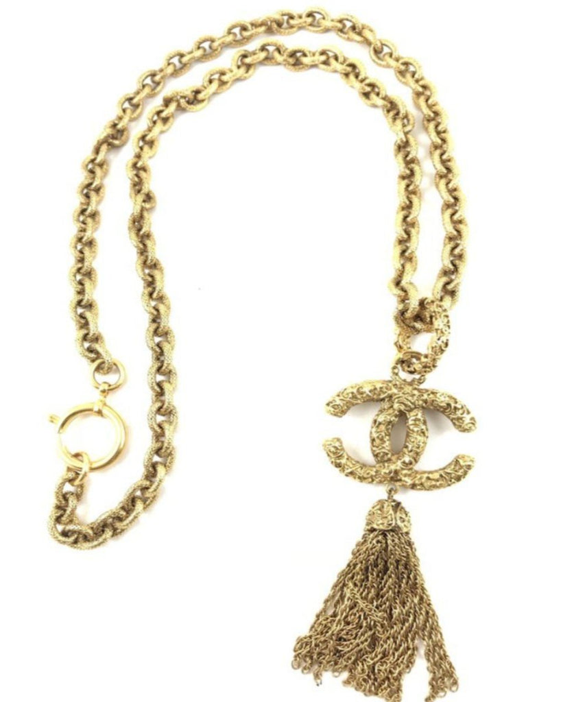 vintage chanel necklace with CC and tassel