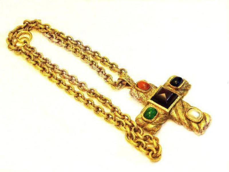 vintage chanel large etched gripoix cross necklace