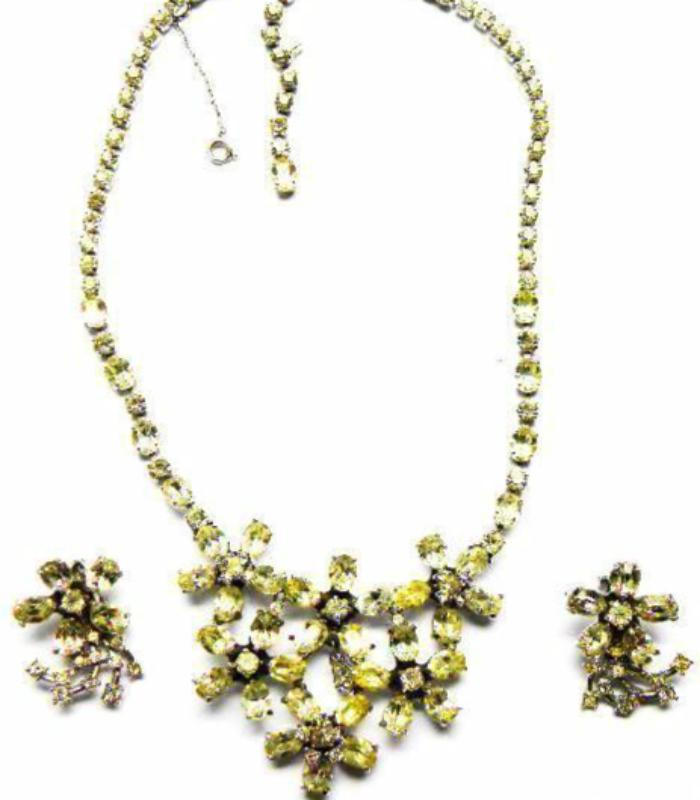 vintage dior crystal necklace set