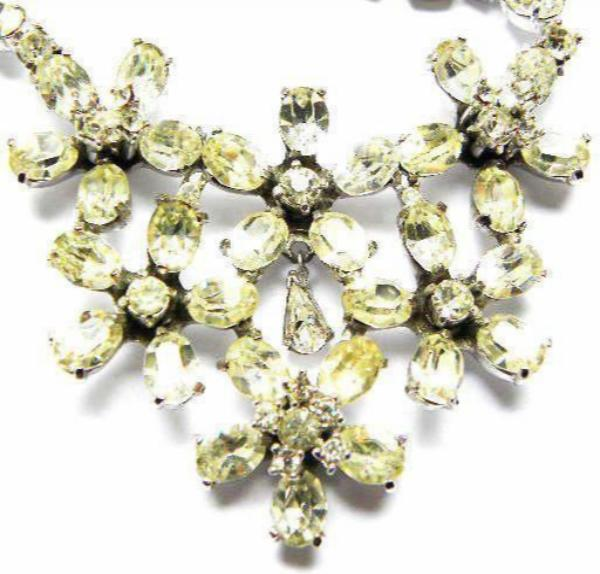 Vintage Dior Crystal Flower Necklace Set by Mitchel Maer