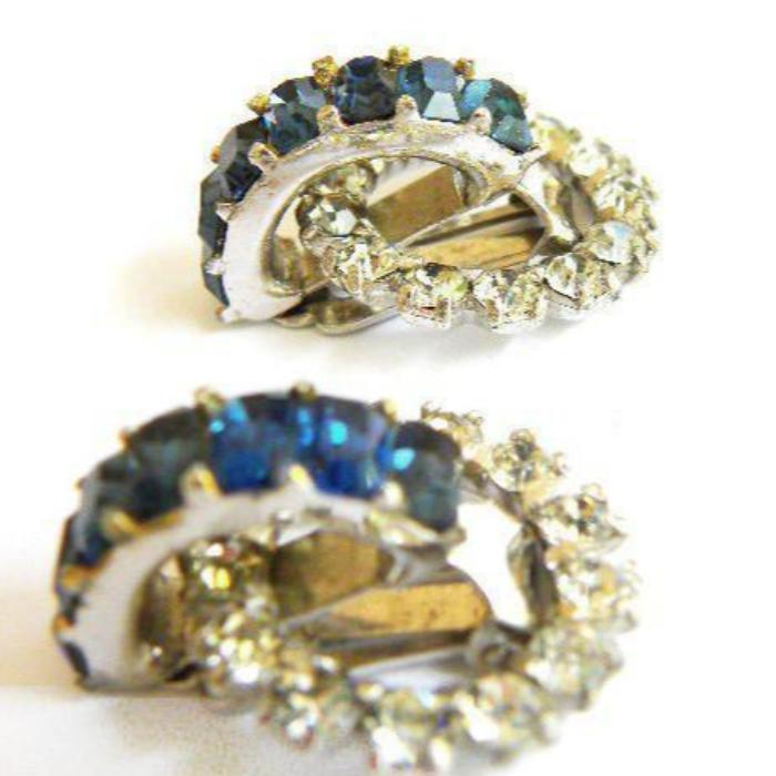 Vintage Dior Blue Crystal Pin and Earring Set