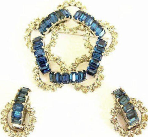 vintage dior blue crystal earring/pin set