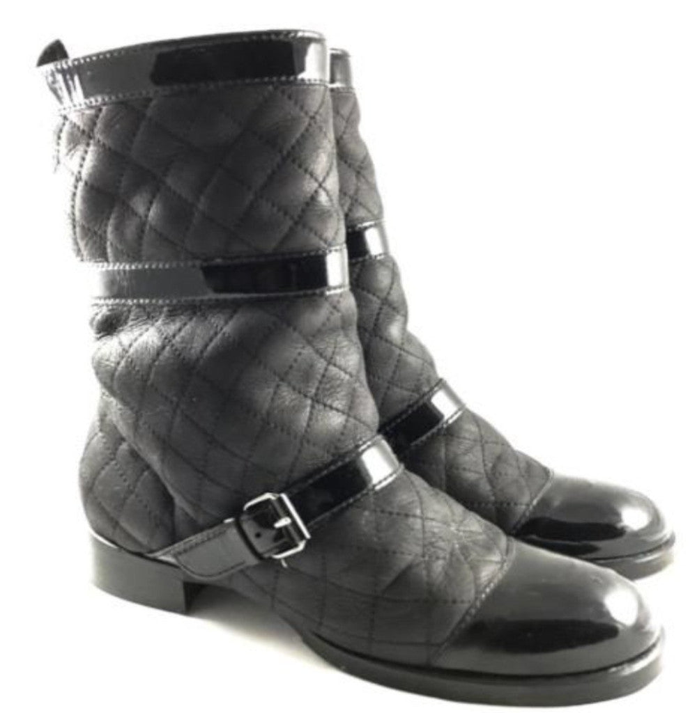 chanel black leather quilted biker boots