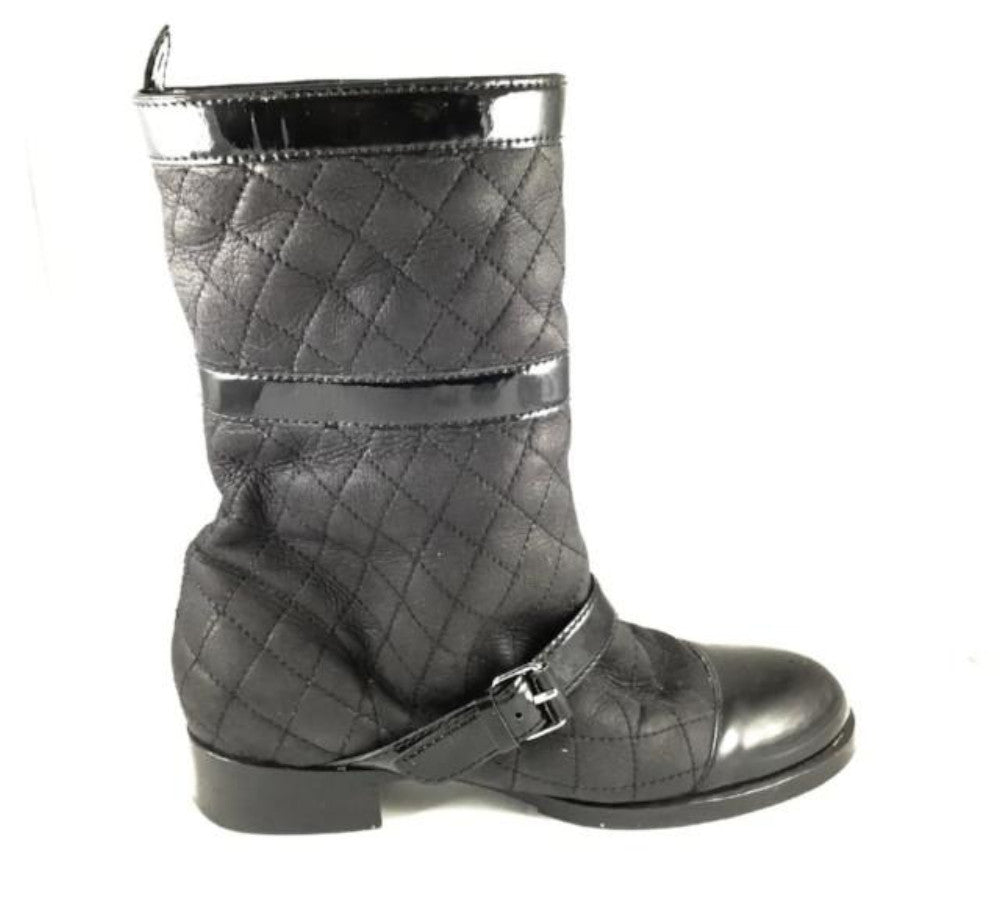 Chanel Quilted Leather Biker Boots Very Vintage