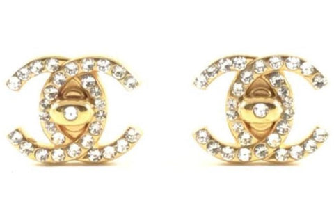 chanel rhinestone turnlock earrings
