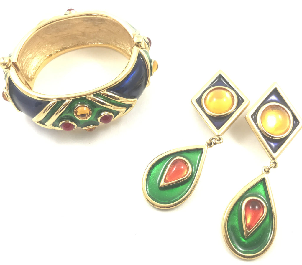 YSL yves saint laurent enamelled bracelet earring set