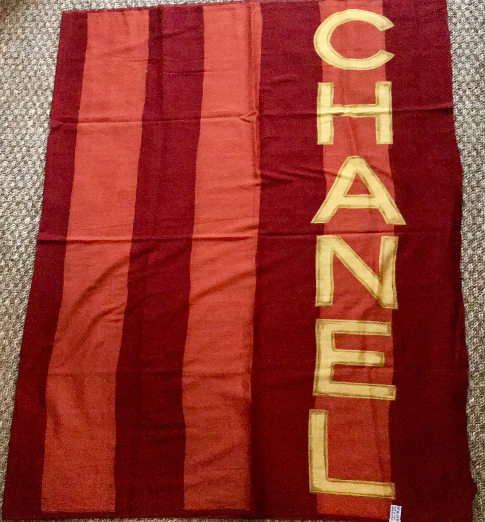 Chanel Pareo in Burgundy/Orange with Yellow Lettering