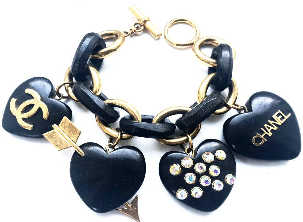 chanel wooden heart bracelet